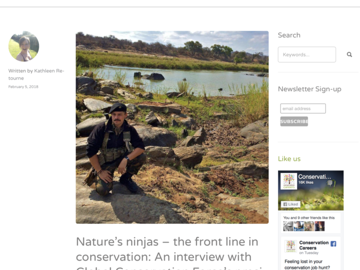 "Interview with Conservation Careers ""Nature's ninjas – the front line in conservation: An interview with Global Conservation Force's president Mike Veale"""