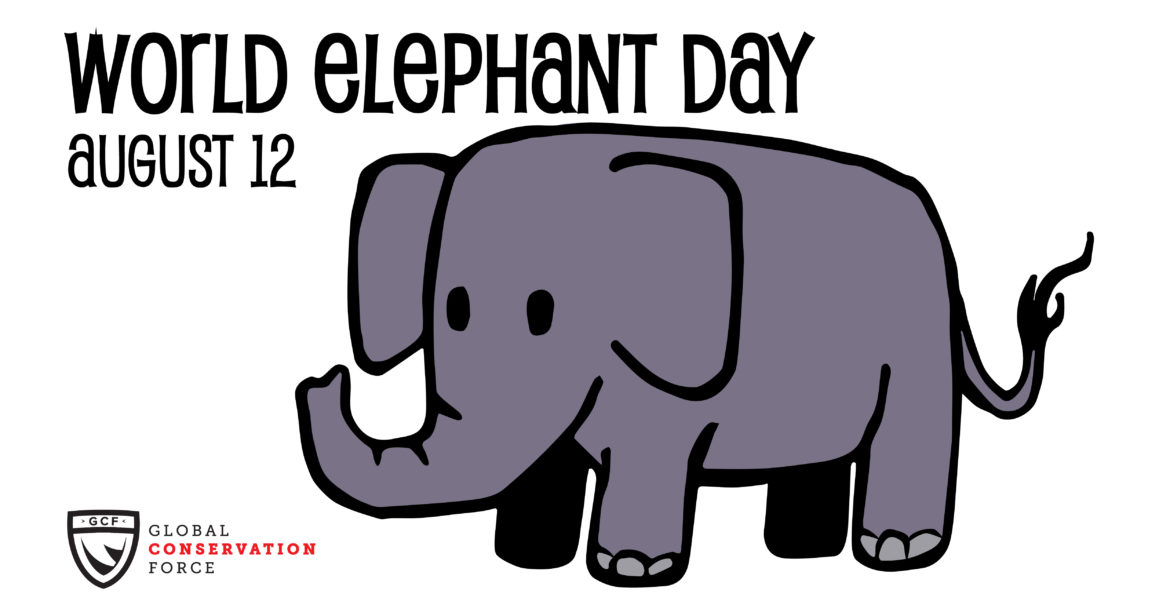 grey cartoon elephant under text that says World Elephant Day August 12